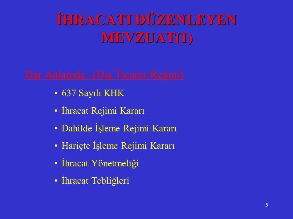 5 İHRACATI DÜZENLEYEN MEVZUAT(1) Dar Anlamda: (Dış Ticaret Rejimi) •637 Sayılı KHK •İhracat Rejimi Kararı •Dahilde İşleme Rejimi Kararı •Hariçte İşlem