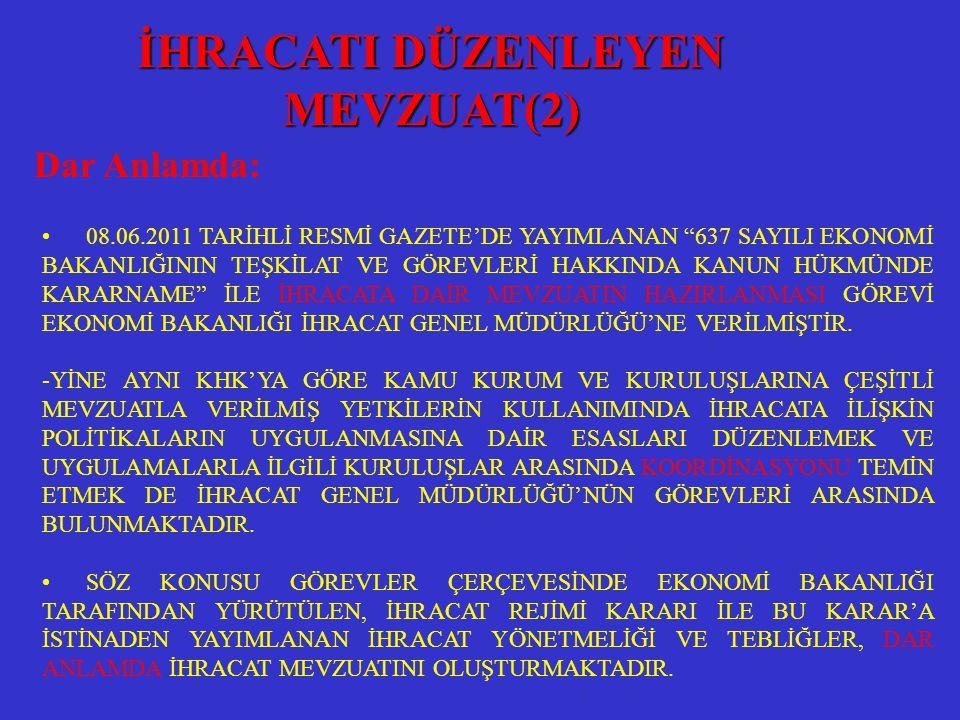 """• 08.06.2011 TARİHLİ RESMİ GAZETE'DE YAYIMLANAN """"637 SAYILI EKONOMİ BAKANLIĞININ TEŞKİLAT VE GÖREVLERİ HAKKINDA KANUN HÜKMÜNDE KARARNAME"""" İLE İHRACATA"""
