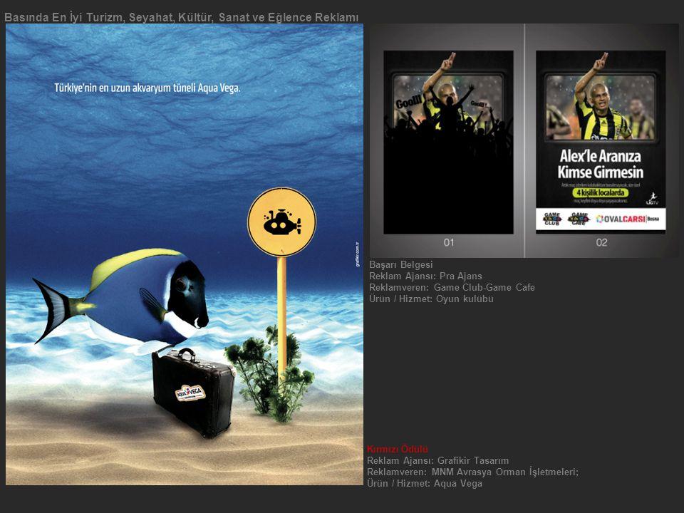 Basında En İyi Turizm, Seyahat, Kültür, Sanat ve Eğlence Reklamı Kırmızı Ödülü Reklam Ajansı: Grafikir Tasarım Reklamveren: MNM Avrasya Orman İşletmeleri; Ürün / Hizmet: Aqua Vega Başarı Belgesi Reklam Ajansı: Pra Ajans Reklamveren: Game Club-Game Cafe Ürün / Hizmet: Oyun kulübü