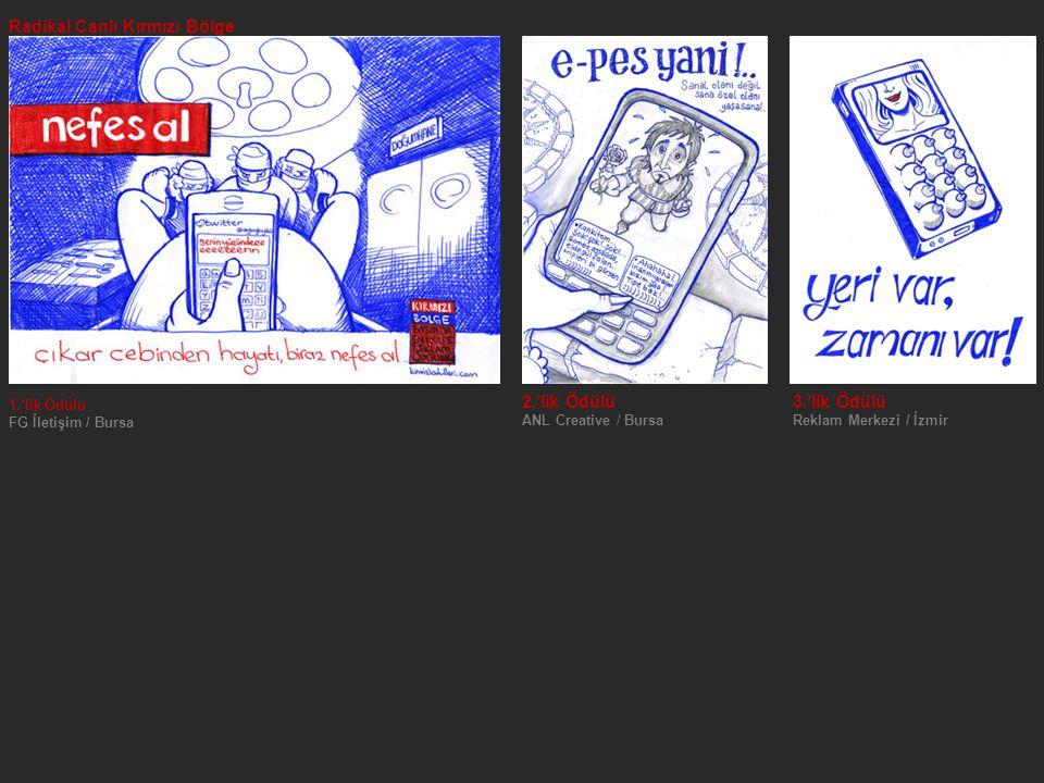 Radikal Canlı Kırmızı Bölge 1.'lik Ödülü FG İletişim / Bursa 2.'lik Ödülü 3.'lik Ödülü ANL Creative / Bursa Reklam Merkezi / İzmir