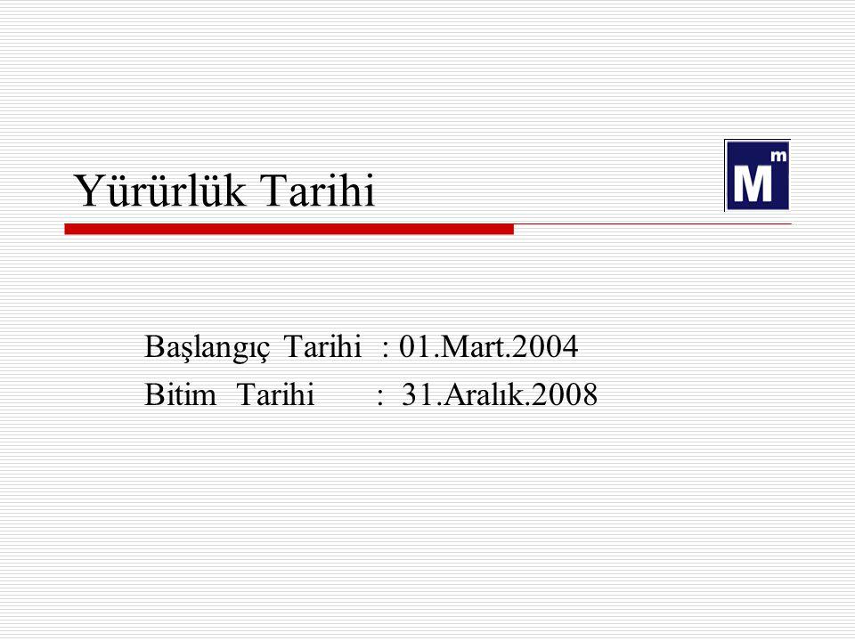 Yürürlük Tarihi Başlangıç Tarihi : 01.Mart.2004 Bitim Tarihi : 31.Aralık.2008