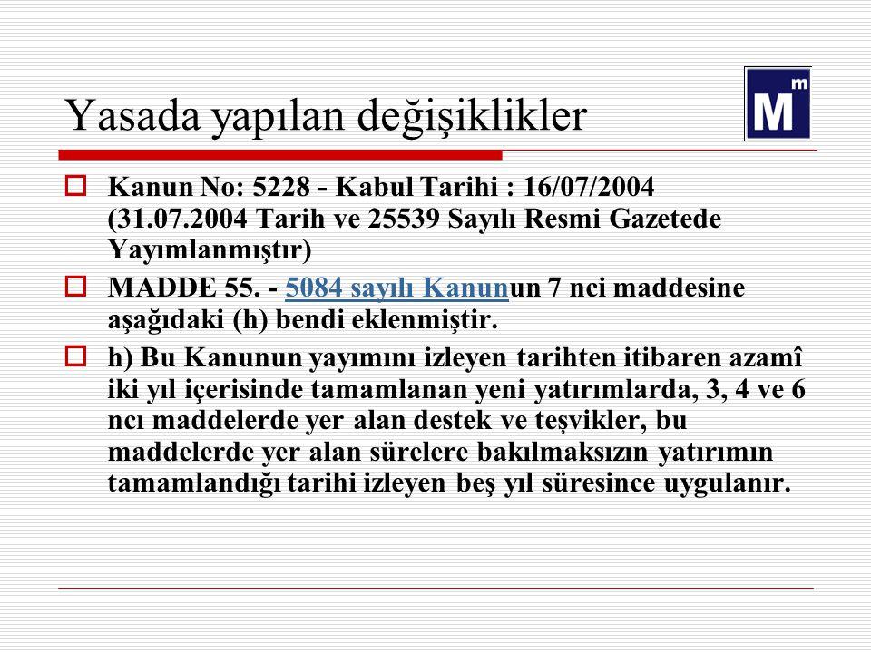 Yasada yapılan değişiklikler  Kanun No: 5228 - Kabul Tarihi : 16/07/2004 (31.07.2004 Tarih ve 25539 Sayılı Resmi Gazetede Yayımlanmıştır)  MADDE 55.