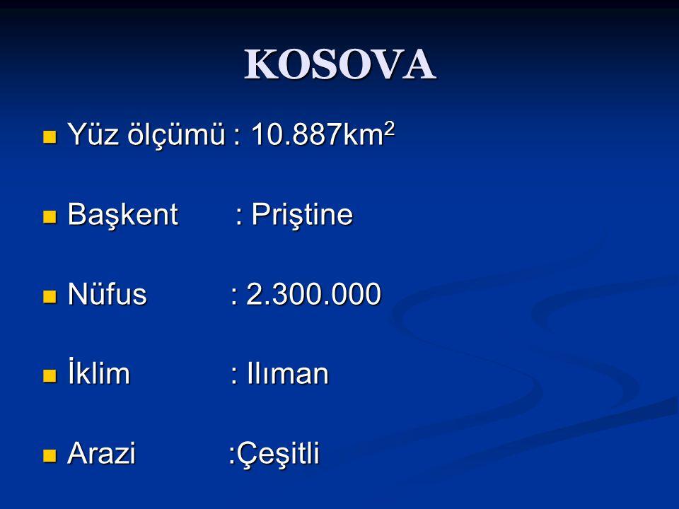 KOSOVA  Yüz ölçümü : 10.887km 2  Başkent : Priştine  Nüfus : 2.300.000  İklim : Ilıman  Arazi :Çeşitli