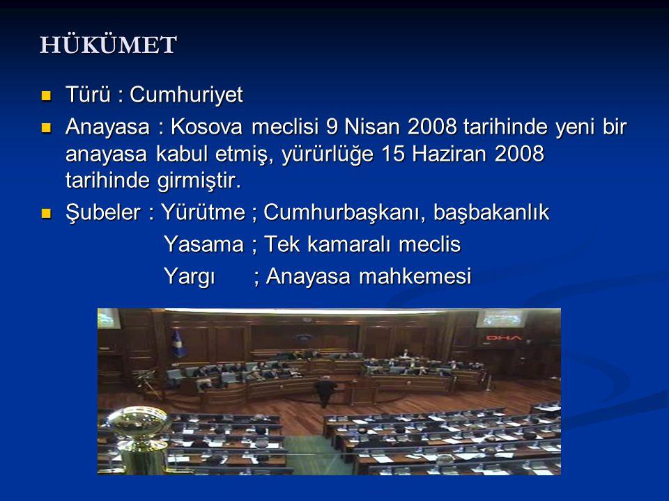 HÜKÜMET  Türü : Cumhuriyet  Anayasa : Kosova meclisi 9 Nisan 2008 tarihinde yeni bir anayasa kabul etmiş, yürürlüğe 15 Haziran 2008 tarihinde girmiş