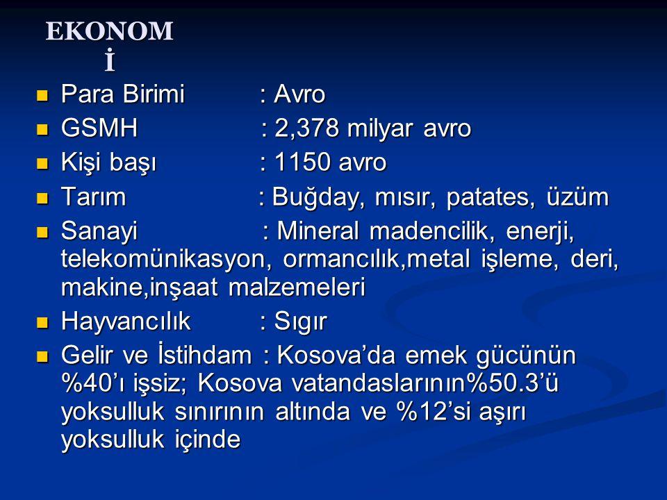 EKONOM İ  Para Birimi : Avro  GSMH : 2,378 milyar avro  Kişi başı : 1150 avro  Tarım : Buğday, mısır, patates, üzüm  Sanayi : Mineral madencilik,