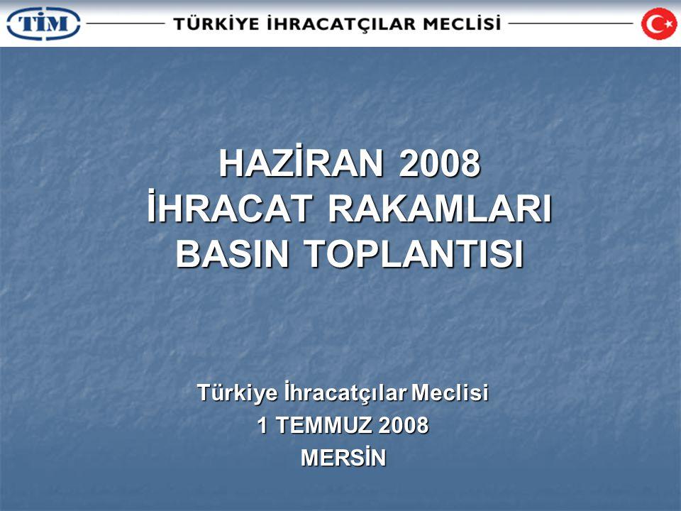 HAZİRAN 2008 İHRACAT RAKAMLARI BASIN TOPLANTISI Türkiye İhracatçılar Meclisi 1 TEMMUZ 2008 MERSİN