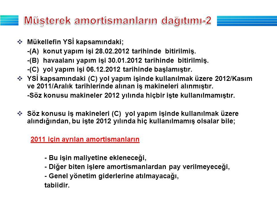  Mükellefin YSİ kapsamındaki; -(A) konut yapım işi 28.02.2012 tarihinde bitirilmiş.