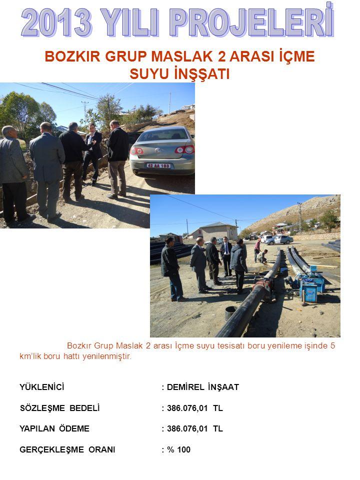 Bozkır Grup Maslak 2 arası İçme suyu tesisatı boru yenileme işinde 5 km'lik boru hattı yenilenmiştir. YÜKLENİCİ : DEMİREL İNŞAAT SÖZLEŞME BEDELİ : 386