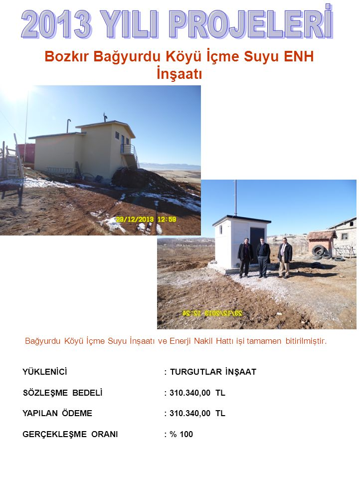 Bağyurdu Köyü İçme Suyu İnşaatı ve Enerji Nakil Hattı işi tamamen bitirilmiştir. YÜKLENİCİ : TURGUTLAR İNŞAAT SÖZLEŞME BEDELİ : 310.340,00 TL YAPILAN