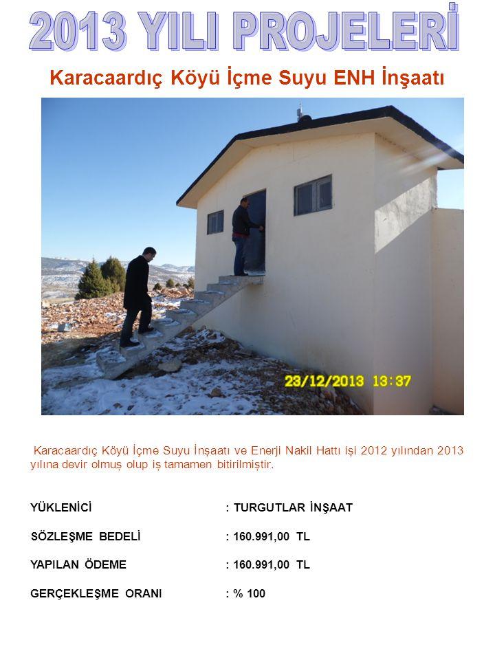 Karacaardıç Köyü İçme Suyu İnşaatı ve Enerji Nakil Hattı işi 2012 yılından 2013 yılına devir olmuş olup iş tamamen bitirilmiştir. YÜKLENİCİ : TURGUTLA