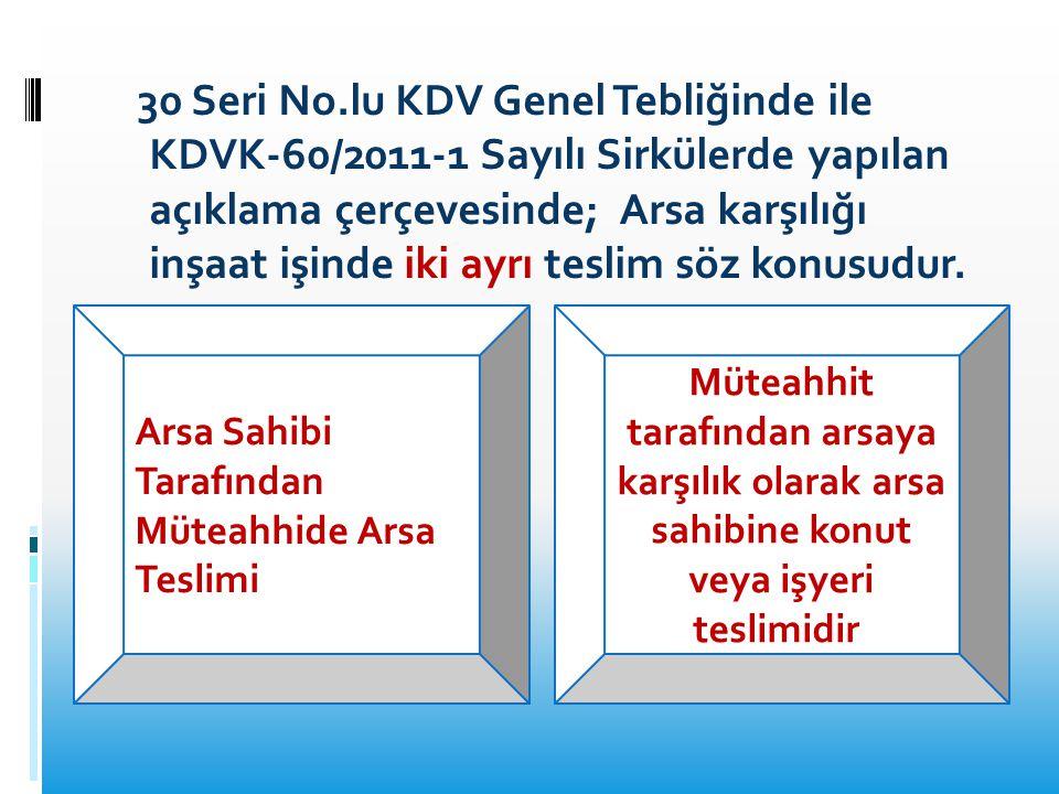 30 Seri No.lu KDV Genel Tebliğinde ile KDVK-60/2011-1 Sayılı Sirkülerde yapılan açıklama çerçevesinde; Arsa karşılığı inşaat işinde iki ayrı teslim sö