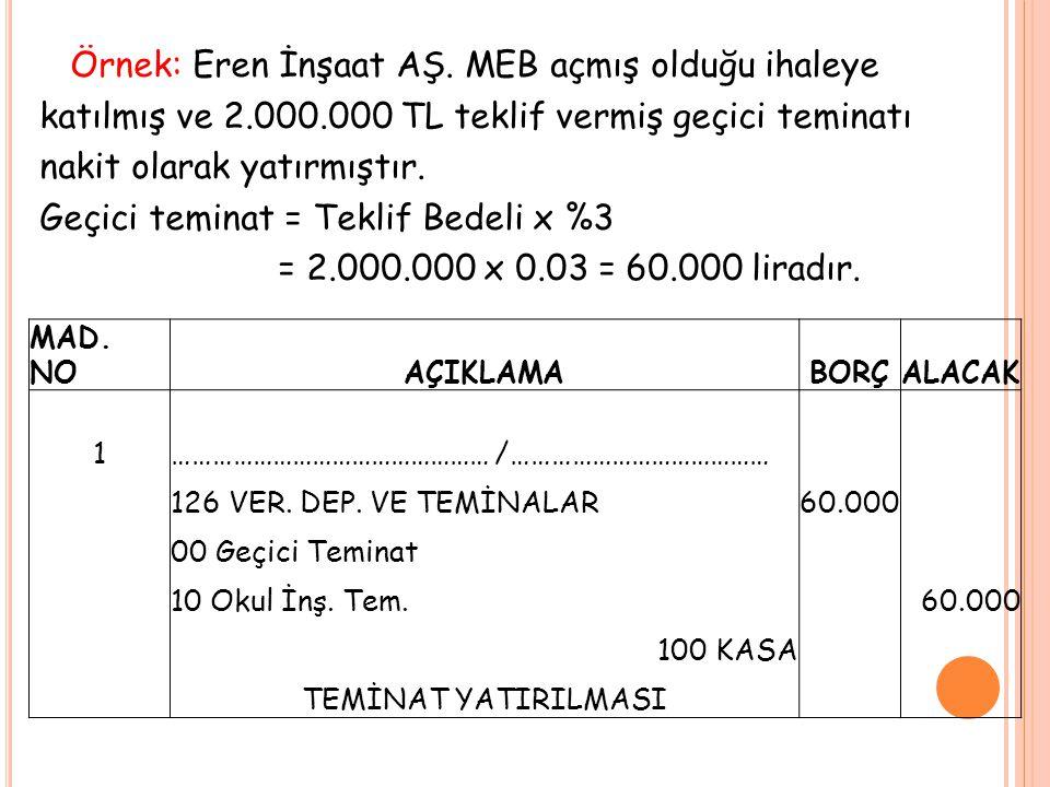 Örnek: Eren İnşaat AŞ. MEB açmış olduğu ihaleye katılmış ve 2.000.000 TL teklif vermiş geçici teminatı nakit olarak yatırmıştır. Geçici teminat = Tekl
