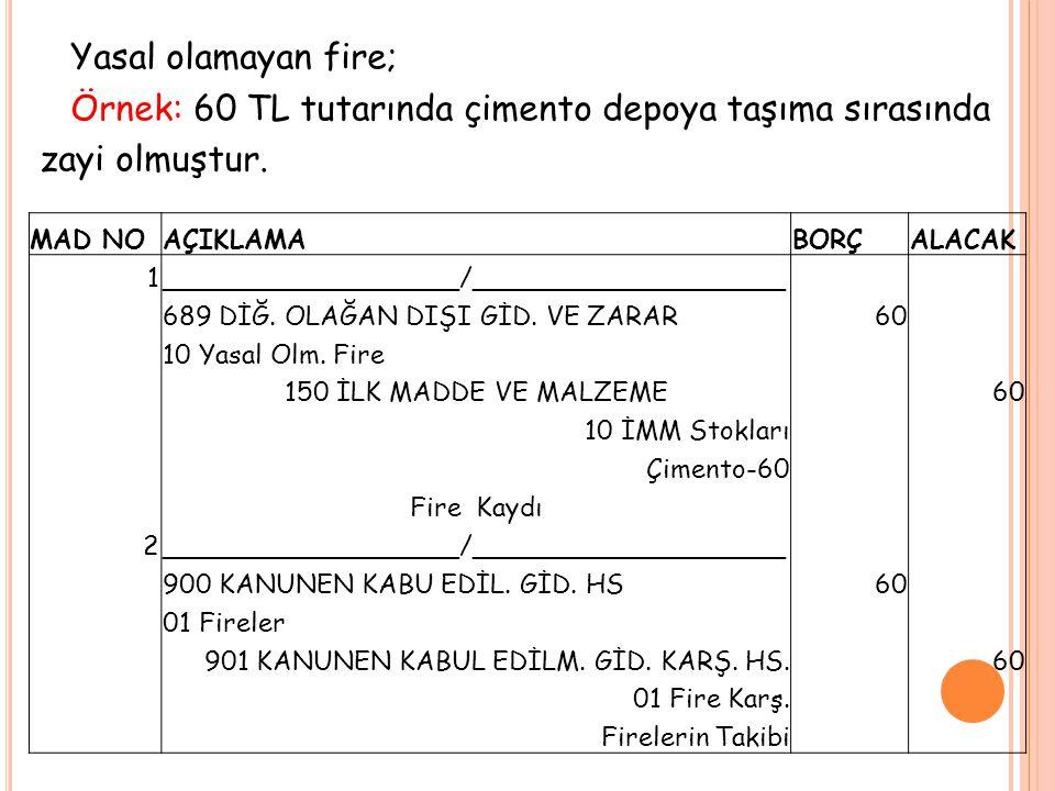 Yasal olamayan fire; Örnek: 60 TL tutarında çimento depoya taşıma sırasında zayi olmuştur. MAD NOAÇIKLAMABORÇALACAK 1__________________/______________