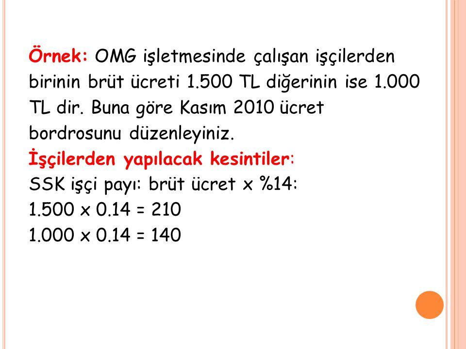Örnek: OMG işletmesinde çalışan işçilerden birinin brüt ücreti 1.500 TL diğerinin ise 1.000 TL dir. Buna göre Kasım 2010 ücret bordrosunu düzenleyiniz