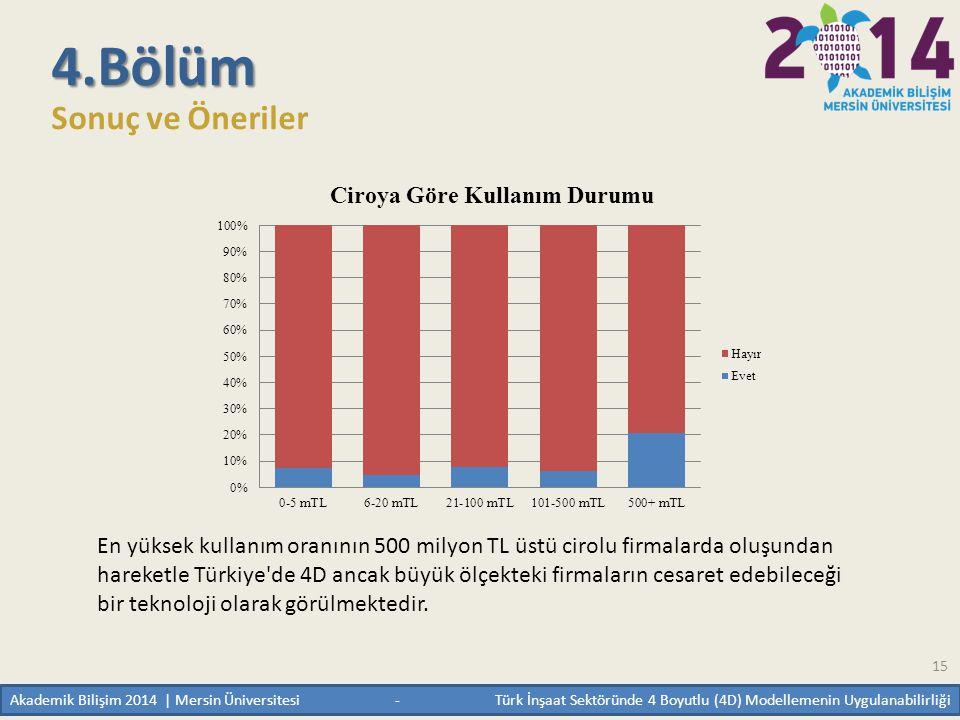 15 4.Bölüm Sonuç ve Öneriler En yüksek kullanım oranının 500 milyon TL üstü cirolu firmalarda oluşundan hareketle Türkiye'de 4D ancak büyük ölçekteki