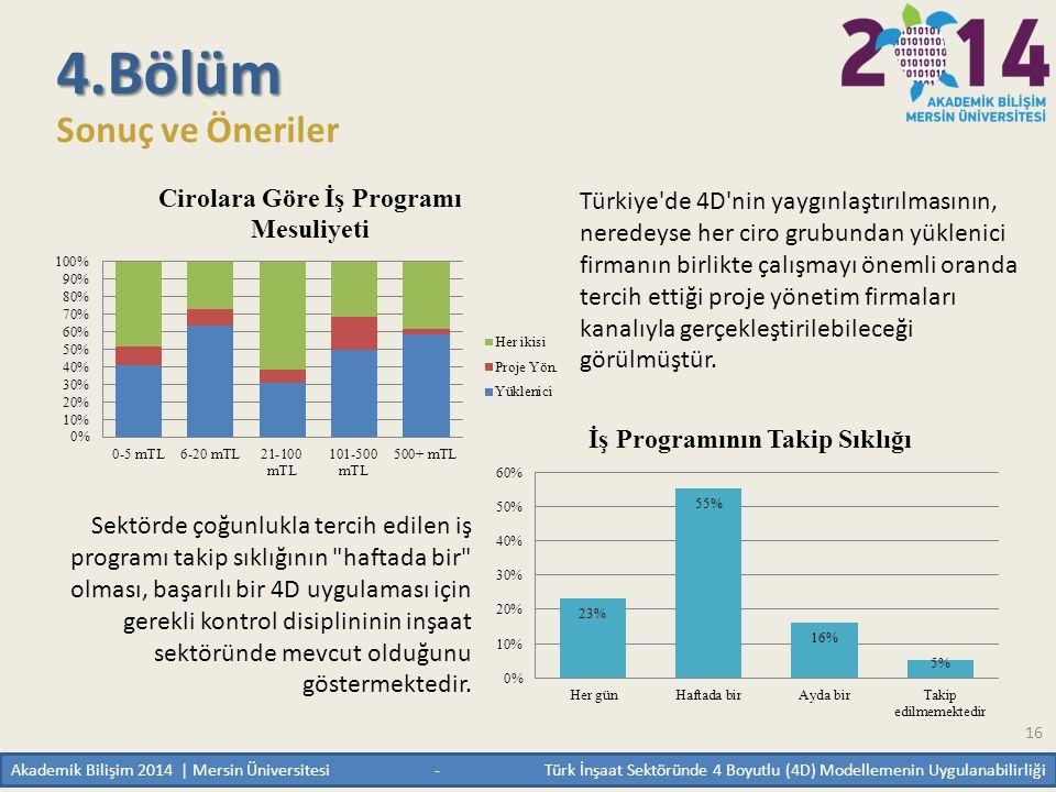 16 4.Bölüm Sonuç ve Öneriler Türkiye'de 4D'nin yaygınlaştırılmasının, neredeyse her ciro grubundan yüklenici firmanın birlikte çalışmayı önemli oranda