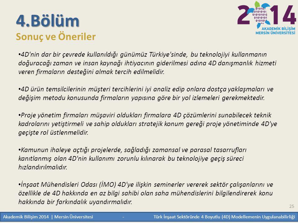 25 4.Bölüm Sonuç ve Öneriler • 4D'nin dar bir çevrede kullanıldığı günümüz Türkiye'sinde, bu teknolojiyi kullanmanın doğuracağı zaman ve insan kaynağı