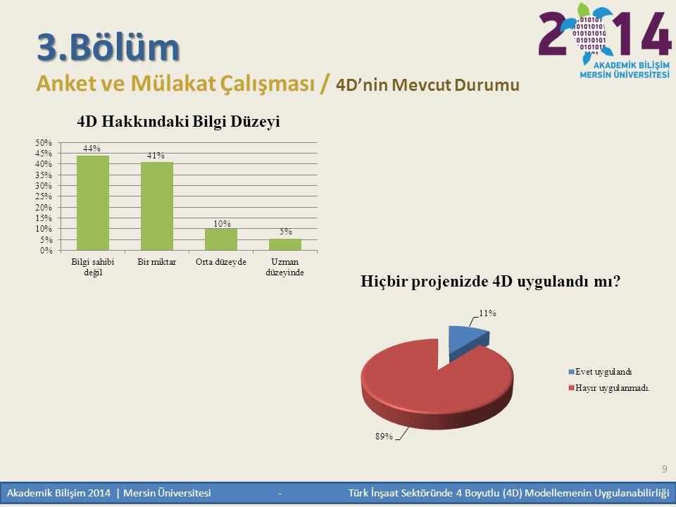 9 3.Bölüm Anket ve Mülakat Çalışması / 4D'nin Mevcut Durumu Akademik Bilişim 2014 | Mersin Üniversitesi - Türk İnşaat Sektöründe 4 Boyutlu (4D) Modell