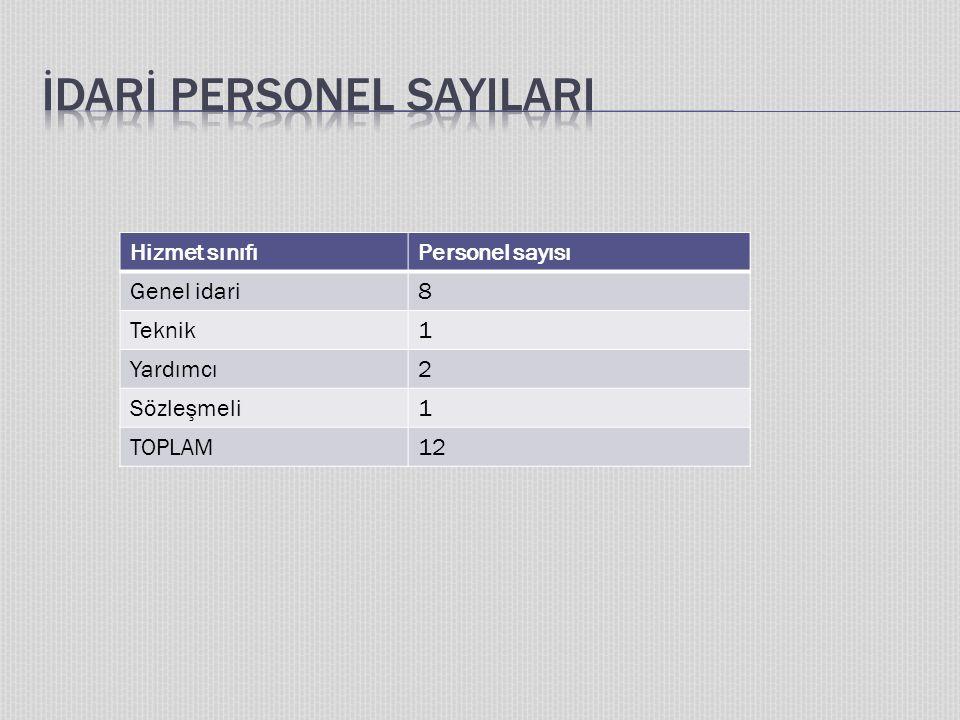 Hizmet sınıfıPersonel sayısı Genel idari8 Teknik1 Yardımcı2 Sözleşmeli1 TOPLAM12