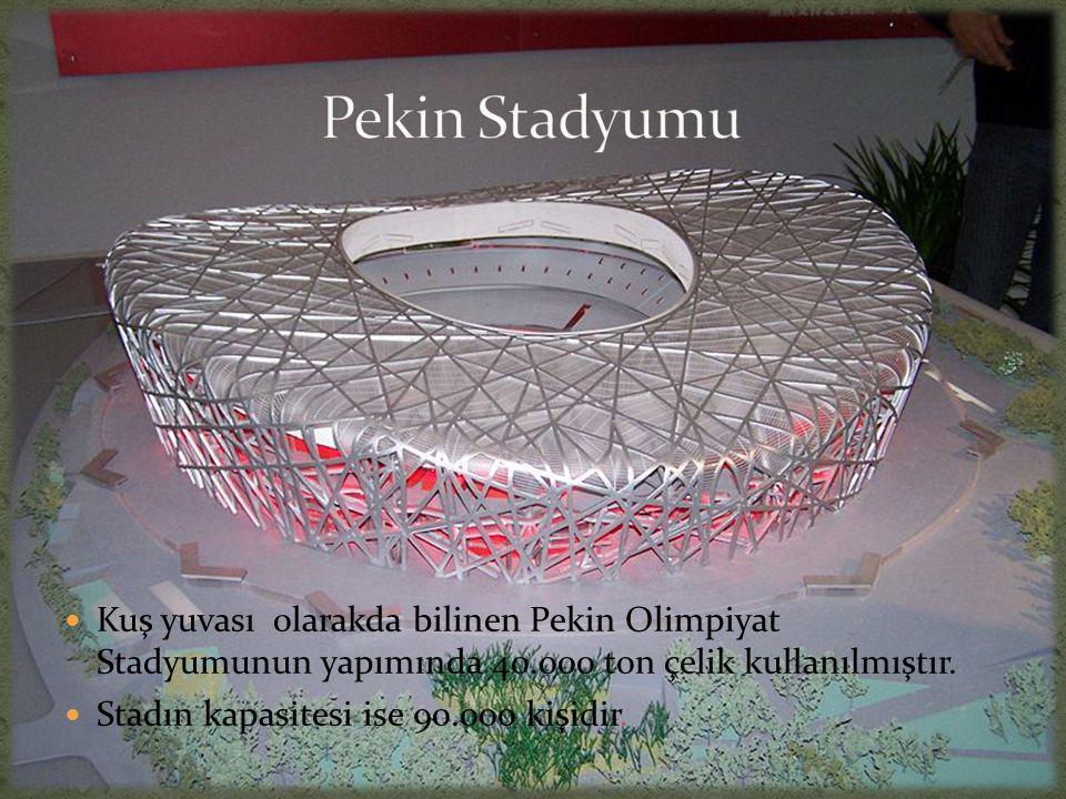  Kuş yuvası olarakda bilinen Pekin Olimpiyat Stadyumunun yapımında 40.000 ton çelik kullanılmıştır.  Stadın kapasitesi ise 90.000 kişidir.
