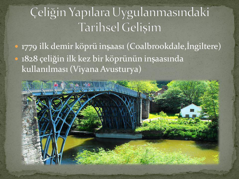  1779 ilk demir köprü inşaası (Coalbrookdale,İngiltere)  1828 çeliğin ilk kez bir köprünün inşaasında kullanılması (Viyana Avusturya)