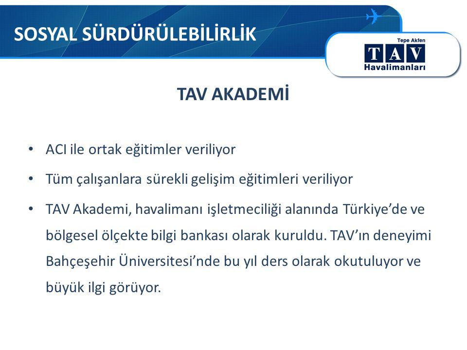 TAV AKADEMİ • ACI ile ortak eğitimler veriliyor • Tüm çalışanlara sürekli gelişim eğitimleri veriliyor • TAV Akademi, havalimanı işletmeciliği alanında Türkiye'de ve bölgesel ölçekte bilgi bankası olarak kuruldu.