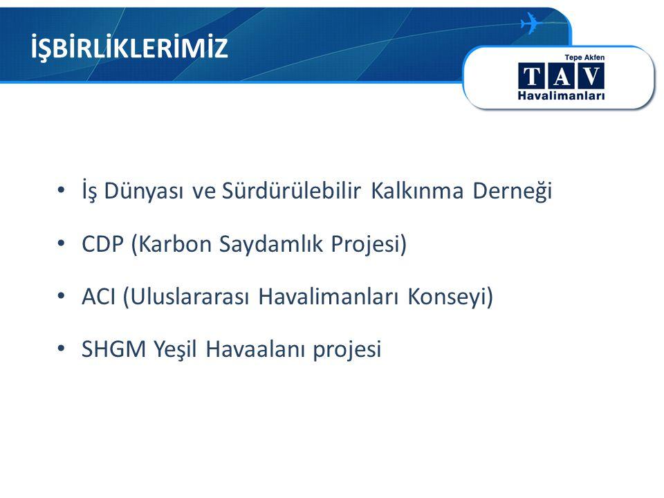 İŞBİRLİKLERİMİZ • İş Dünyası ve Sürdürülebilir Kalkınma Derneği • CDP (Karbon Saydamlık Projesi) • ACI (Uluslararası Havalimanları Konseyi) • SHGM Yeşil Havaalanı projesi