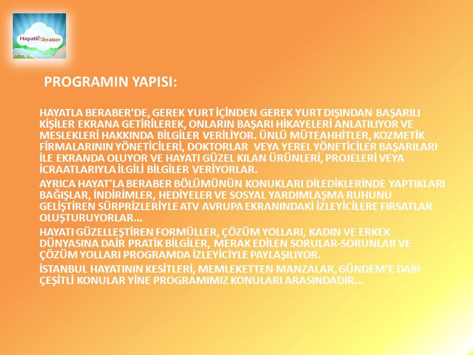 PROGRAMIMIZ ATV AVRUPA EKRANLARINDAN İZLEYİCİLERİYLE BULUŞUYOR...
