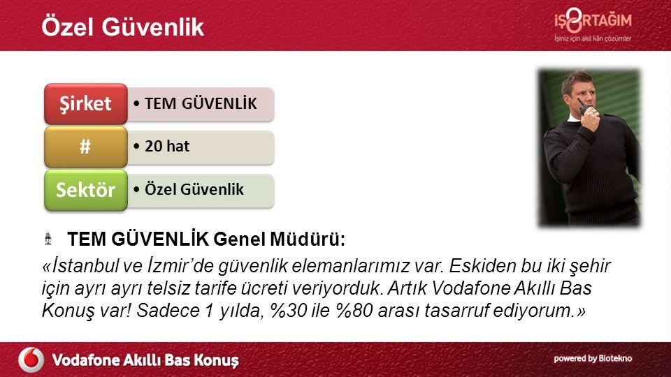 Özel Güvenlik TEM GÜVENLİK Genel Müdürü: «İstanbul ve İzmir'de güvenlik elemanlarımız var. Eskiden bu iki şehir için ayrı ayrı telsiz tarife ücreti ve