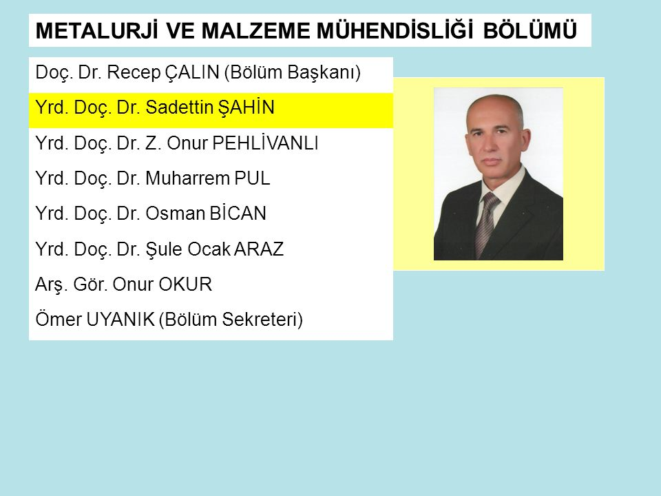 Doç.Dr. Recep ÇALIN (Bölüm Başkanı) Yrd. Doç. Dr.