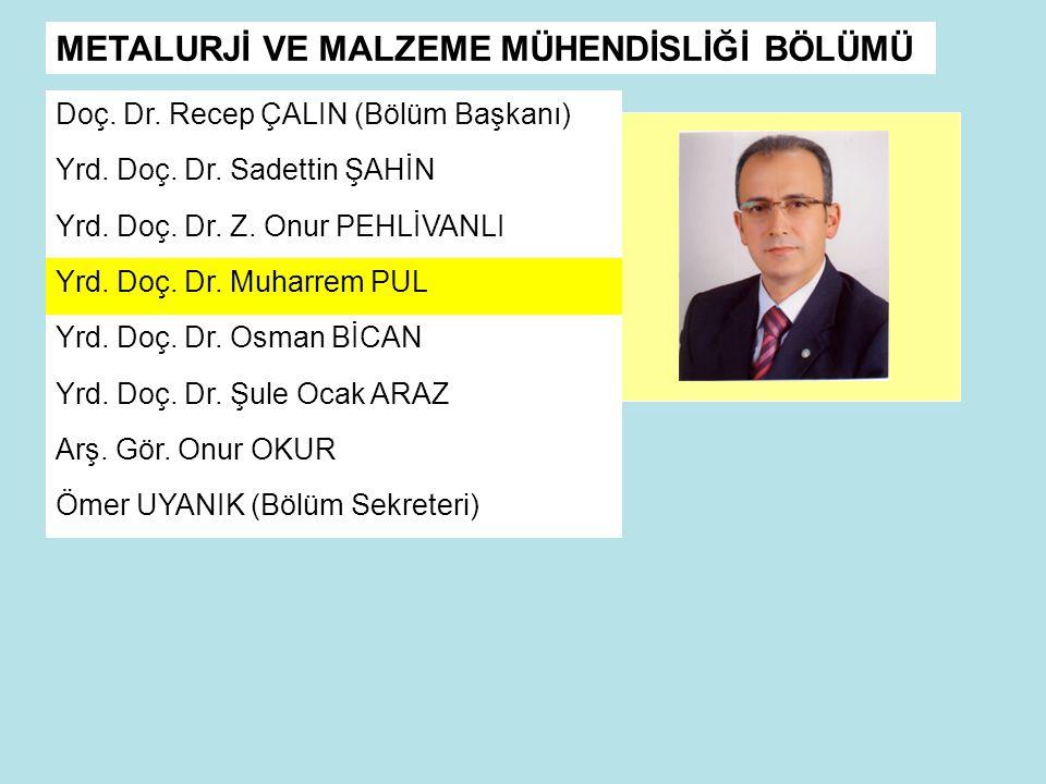 METALURJİ VE MALZEME MÜHENDİSLİĞİ BÖLÜMÜ Doç.Dr. Recep ÇALIN (Bölüm Başkanı) Yrd.