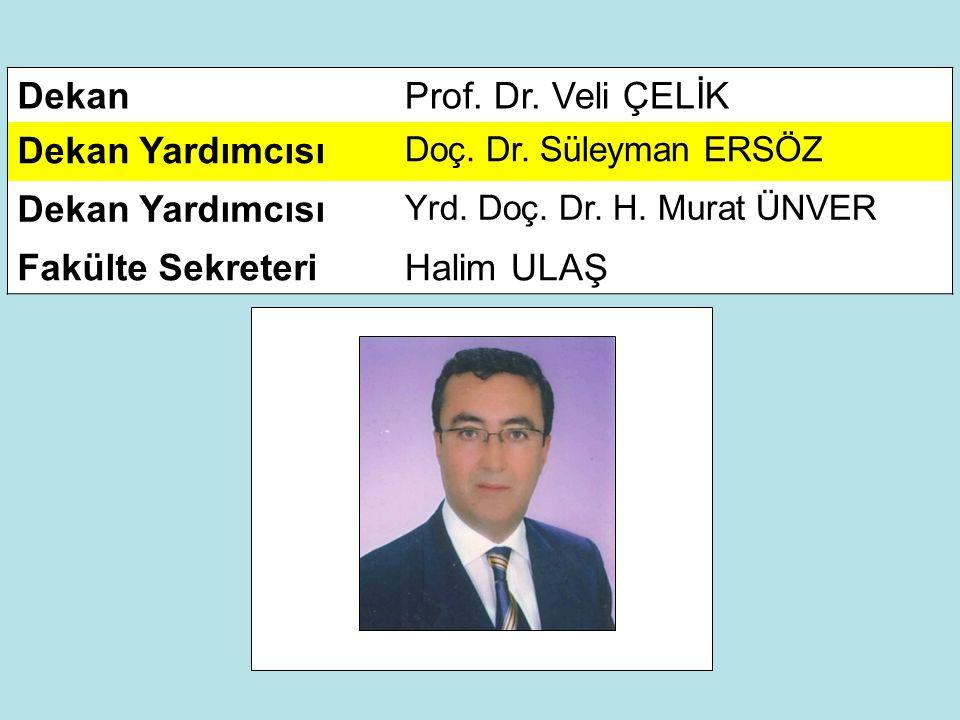 DekanProf.Dr. Veli ÇELİK Dekan Yardımcısı Doç. Dr.