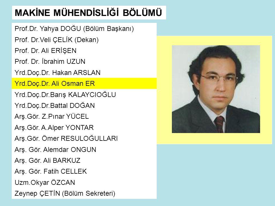 MAKİNE MÜHENDİSLİĞİ BÖLÜMÜ Prof.Dr.Yahya DOĞU (Bölüm Başkanı) Prof.