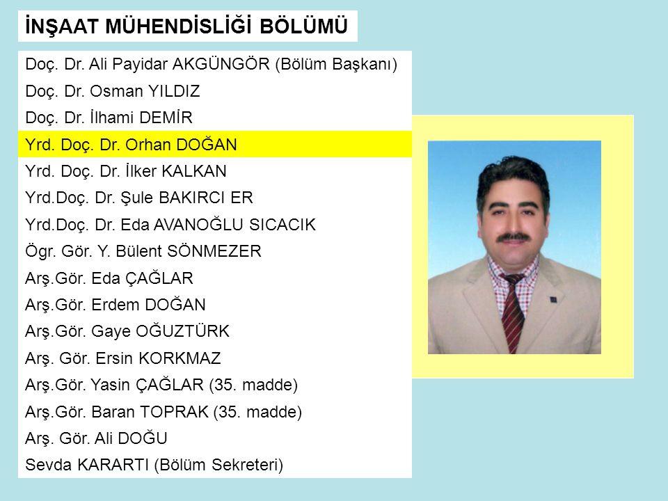 İNŞAAT MÜHENDİSLİĞİ BÖLÜMÜ Doç.Dr. Ali Payidar AKGÜNGÖR (Bölüm Başkanı) Doç.