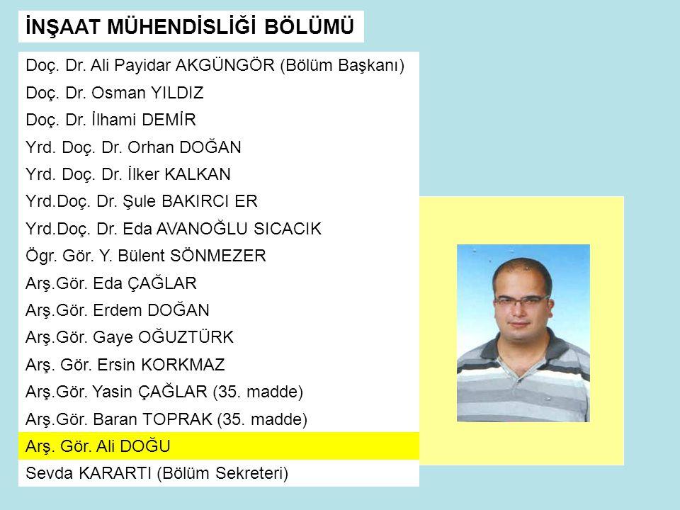 Doç.Dr. Ali Payidar AKGÜNGÖR (Bölüm Başkanı) Doç.