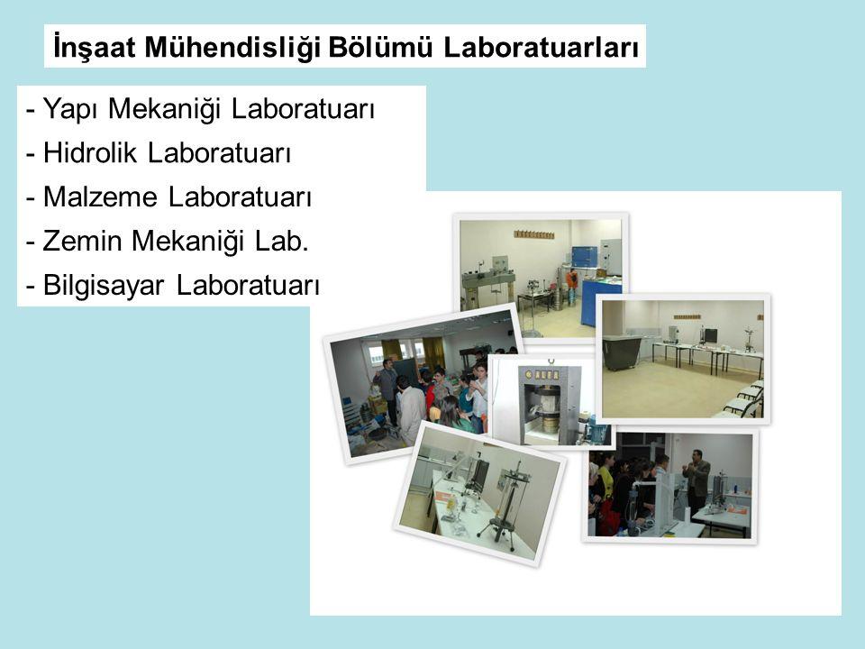 İnşaat Mühendisliği Bölümü Laboratuarları - Yapı Mekaniği Laboratuarı - Hidrolik Laboratuarı - Malzeme Laboratuarı - Zemin Mekaniği Lab.