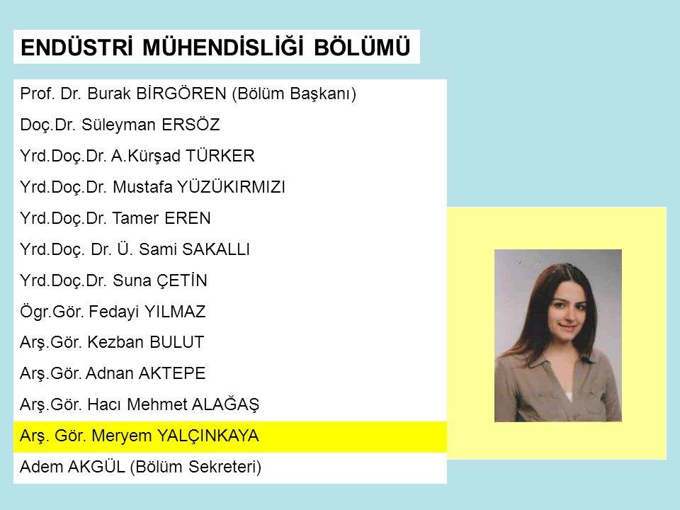 Prof.Dr. Burak BİRGÖREN (Bölüm Başkanı) Doç.Dr. Süleyman ERSÖZ Yrd.Doç.Dr.
