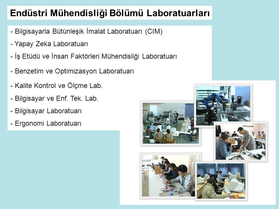 - Bilgisayarla Bütünleşik İmalat Laboratuarı (CIM) - Yapay Zeka Laboratuarı - İş Etüdü ve İnsan Faktörleri Mühendisliği Laboratuarı - Benzetim ve Optimizasyon Laboratuarı - Kalite Kontrol ve Ölçme Lab.