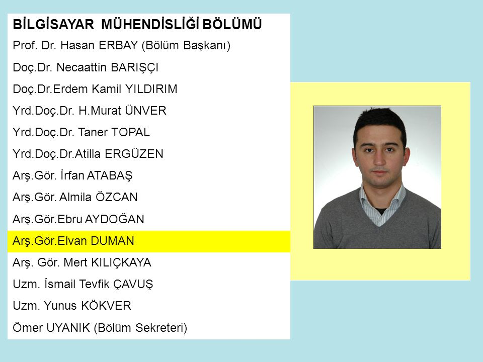BİLGİSAYAR MÜHENDİSLİĞİ BÖLÜMÜ Prof.Dr. Hasan ERBAY (Bölüm Başkanı) Doç.Dr.