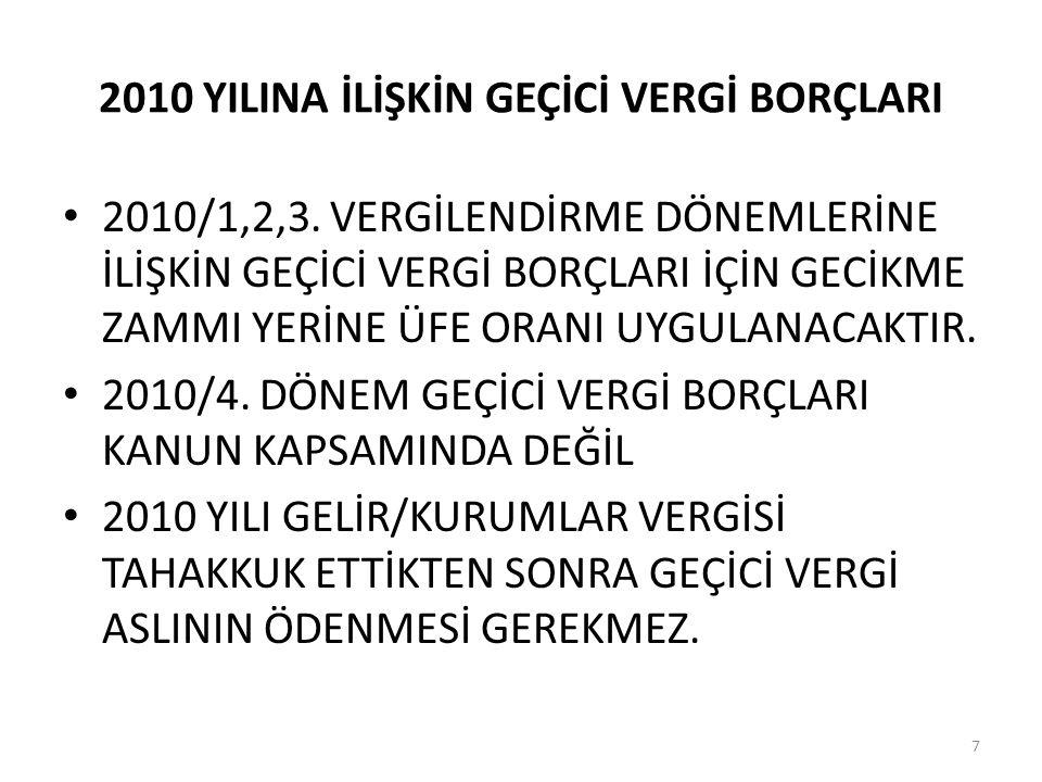 2010 YILINA İLİŞKİN GEÇİCİ VERGİ BORÇLARI • 2010/1,2,3.