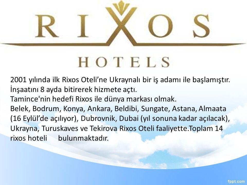 Tamince'nin hedefi Rixos ile dünya markası olmak. 2001 yılında ilk Rixos Oteli'ne Ukraynalı bir iş adamı ile başlamıştır. İnşaatını 8 ayda bitirerek h