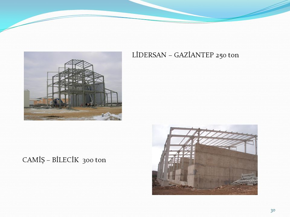 30 LİDERSAN – GAZİANTEP 250 ton CAMİŞ – BİLECİK 300 ton
