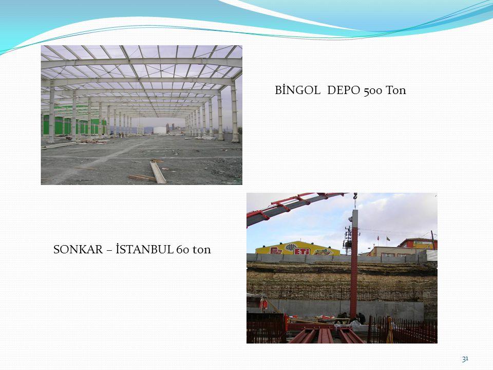 31 BİNGOL DEPO 500 Ton SONKAR – İSTANBUL 60 ton