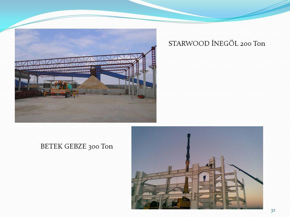 32 STARWOOD İNEGÖL 200 Ton BETEK GEBZE 300 Ton