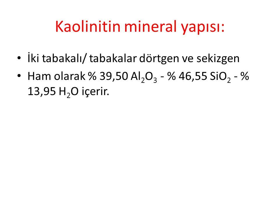 Kaolinitin mineral yapısı: • İki tabakalı/ tabakalar dörtgen ve sekizgen • Ham olarak % 39,50 Al 2 O 3 - % 46,55 SiO 2 - % 13,95 H 2 O içerir.