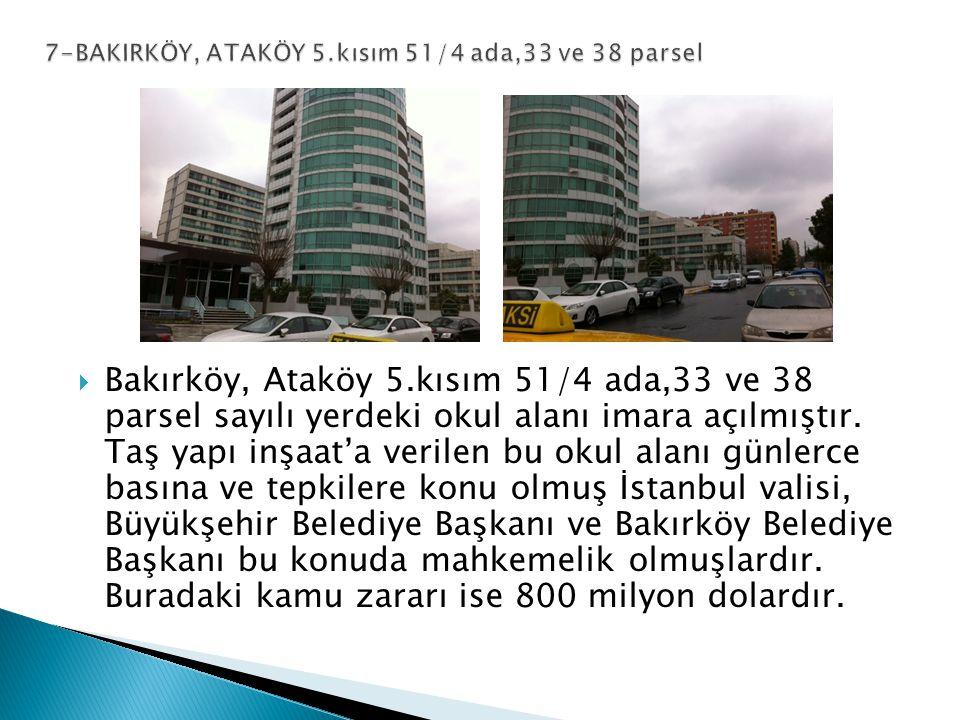  Bakırköy, Ataköy 5.kısım 51/4 ada,33 ve 38 parsel sayılı yerdeki okul alanı imara açılmıştır.