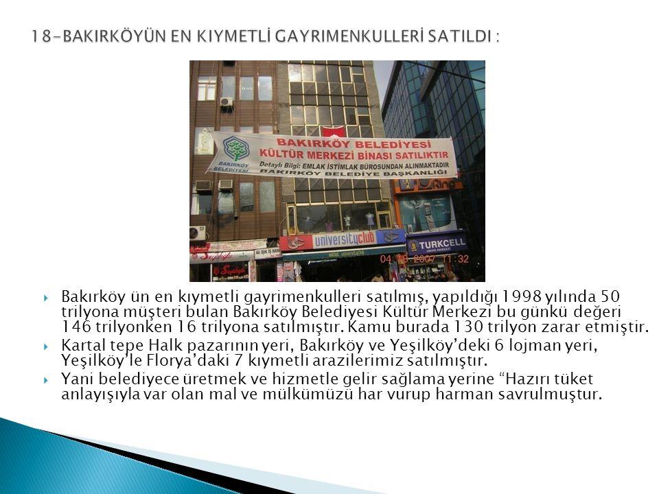  Bakırköy ün en kıymetli gayrimenkulleri satılmış, yapıldığı 1998 yılında 50 trilyona müşteri bulan Bakırköy Belediyesi Kültür Merkezi bu günkü değeri 146 trilyonken 16 trilyona satılmıştır.