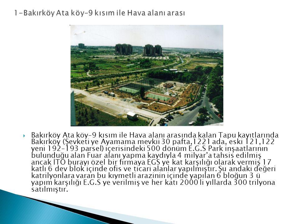  Bakırköy Ata köy–9 kısım ile Hava alanı arasında kalan Tapu kayıtlarında Bakırköy (Şevketi ye Ayamama mevkii 30 pafta,1221 ada, eski 121,122 yeni 192–193 parsel) içerisindeki 500 dönüm E.G.S Park inşaatlarının bulunduğu alan Fuar alanı yapma kaydıyla 4 milyar'a tahsis edilmiş ancak İTO burayı özel bir firmaya EGS ye kat karşılığı olarak vermiş 17 katlı 6 dev blok içinde ofis ve ticari alanlar yapılmıştır.