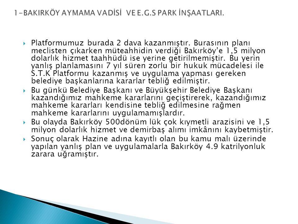  2-Ata köy 7–8 Kısım 1195 ada 2 parsel Ataköy halkı ve platformumuz üyesi Çevre Dostları Derneği tarafından ağaçlandırılarak çamlarla donatılmış 1996 yılında da Meclisten çıkan kararla Yeşil alan ilan edilmiştir. Seçilirken bölge halkı ve bizlerle yaptığı toplantıda burası oluşmuş bir yeşil alan buraya çivi bile çaktırmam diye söz veren, H.Ateş Ünal Erzen seçildikten 1 yıl sonra daha burasının, Büyükşehir Belediye Meclisinden 1/5000 lik planları bile çıkarılmadan,1/1000 liklerini bizzat Ateş Ünal Erzen yapmıştır.