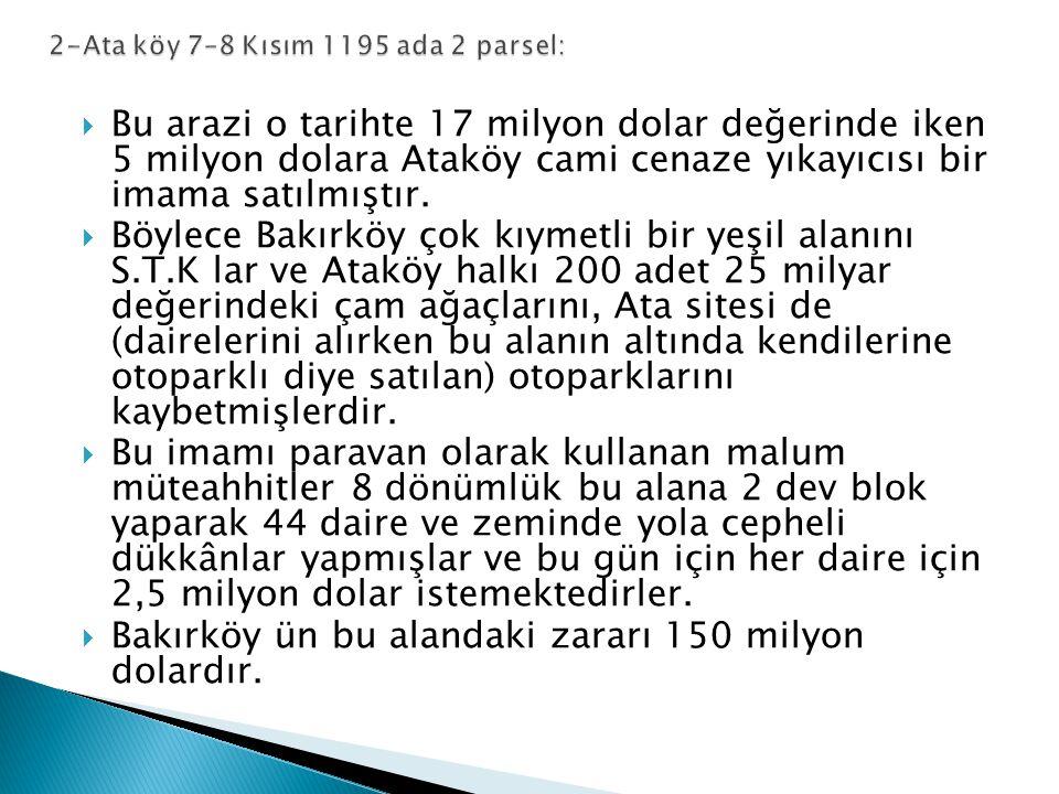  Bakırköy Osmaniye 1043 ada, kamulaştırılmış olup, imar planlarında Yeşil alan ve kentsel hizmet alanı iken 150 dönümü imara açılıp AVM yapılmış.